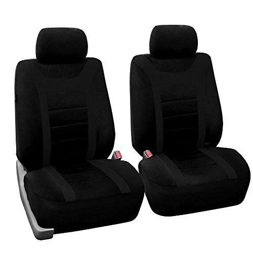 FH GROUP FB070BLACK102 Black Sport Bucket Front Seat Cover, Set of 2 (Airbag Ready Solid)