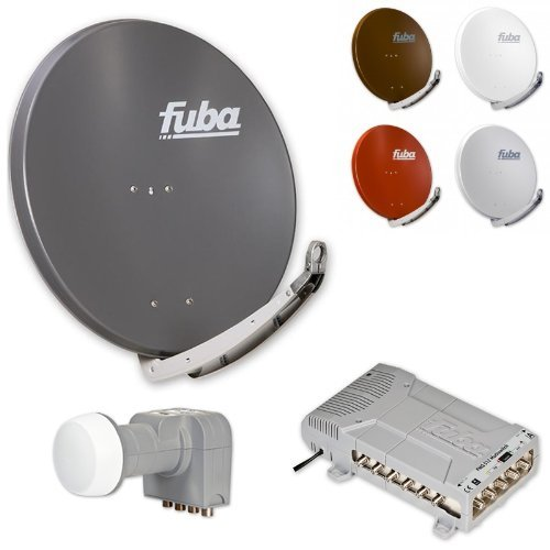 Fuba DAA 850 HD Sat Anlage - 12 Teilnehmer (FMQ 512) - Sat Anlage bestehend aus Fuba DAA 850 in Ihrer Wunschfarbe + Fuba DEK 406 Quattro LNB + Fuba FMQ 512