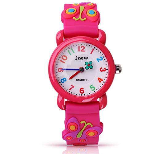 Kinder Uhr, Armbanduhr für Kinder Mädchen, 30M wasserdichte Analog Quarzuhr, 3D Cute Cartoon Uhr, Digitale Kinderuhr, Teaching Handgelenk Uhren mit Silikon Armband, Kids Watch, dunkelrosa