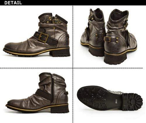 『[ジーノ] ドレープ エンジニアブーツ ショートブーツ ワークブーツ ブーツ サイドジップ メンズ 靴』の2枚目の画像