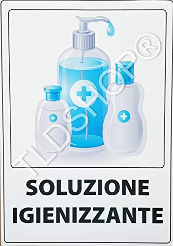 TLDSHOP® SEGNALETICA COVID-19:'Soluzione igienizzante' 29,7X42 cm - PZ 1