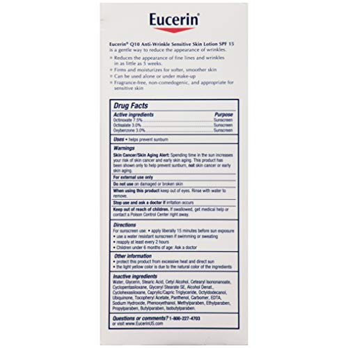 419nA05 BPL - Eucerin Q10 Anti-Wrinkle Face Lotion with SPF 15 - Fragrance-Free, Moisturizes for Softer Smoother Skin - 4 fl. oz Bottle