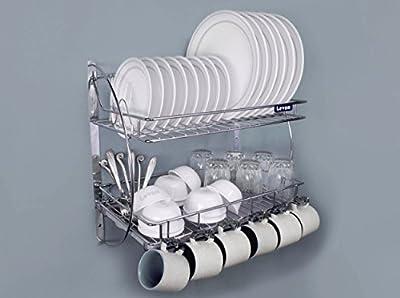 Levon Wall Mount Kitchen Dish Rack Plate Cutlery Stand/Kitchen Utensils Rack/Modern Kitchen Storage Organiser - Size (455 X 255 X 270 Mm) from Levon