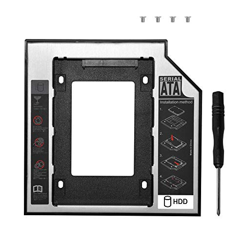 DEEPFOX Hard Drive Caddy Tray Universal SATA 2nd HDD Enclosure Hard Disk Mounting Bracket for HP DELL ACER BenQ Asus Lenovo Laptop CD/DVD-ROM Optical Bay Drive Slot (for SSD and HDD) (12.7mm Caddy)