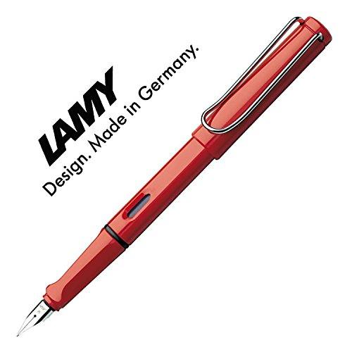 Lamy Safari Füllfederhalter, Füllfederhalter/viele Farben, ES mit Tintenpatronen (ohne Tintenpatronen rot (M))