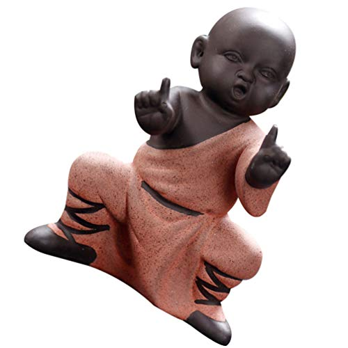 BESPORTBLE Little Monk Cute Baby Buddha Statue Monk Figurine Miniatures Kung Fu Monk Car Dashboard Decorations Fairy Garden Ornaments Red