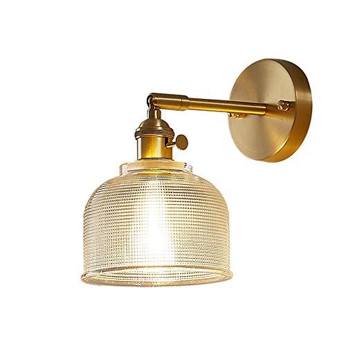Siet Lámpara de pared de cabecera con interruptores rotativos, luz de montaje en pared de cobre de estilo nórdico, accesorios de iluminación de pared giratoria para cocina para cocina, dormitorio, soc