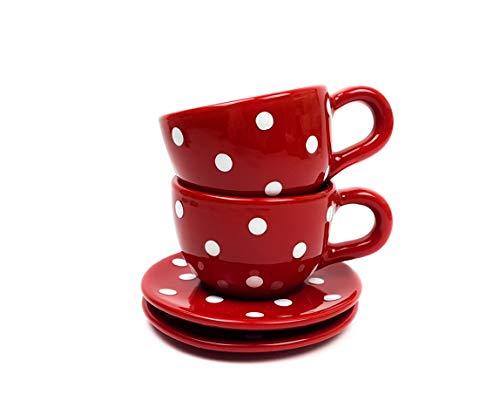 UNGARNIKAT Keramik Kaffeetassen mit Untertassen rot mit handbemalten weißen Punkten 2 Stück