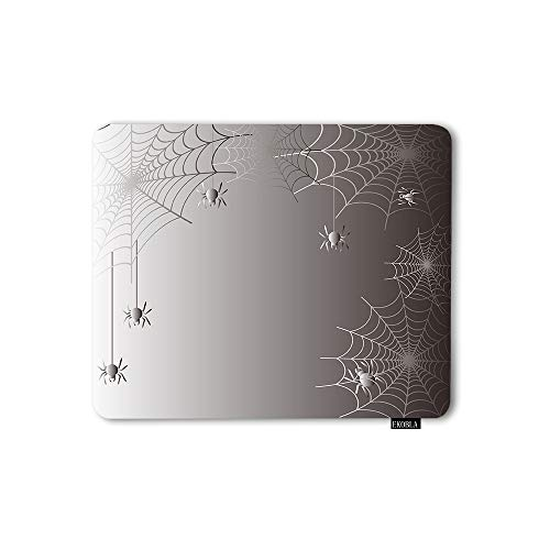 EKOBLA Mouse Pad Happy Halloween Spider Web Cartoon Curve Funny Spooky Orange Background Night 7.9x9.5 Inch Office Non-Slip Natural Rubber Mouse Mat Gaming for Computer PC
