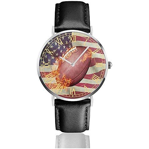 Ballon de Football américain Sport Fire Mens Montres Bandes en Cuir Analogique Quartz Watch Clock