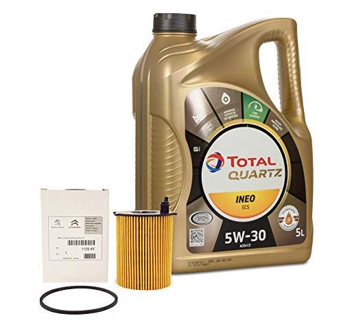 DUO Total Quartz Ineo ECS 5W30 5 litri + Filtro Olio 1109.AY Originale Motore HDi