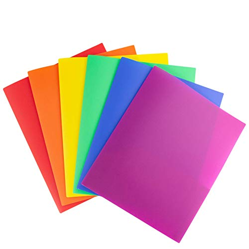 Dunwell Plastic Folders with Pockets - (12 Pack, Assorted Colors), Bright Multicolored Folders with Pockets Include Removable Labels, Use Heavy Duty Plastic Folders 2 Pockets as School Folders