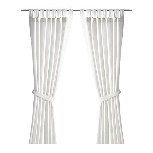 """Ikea Curtains with tie-backs, 1 pair, bleached white 55x118 """", 2222.2925.414"""
