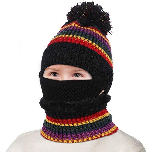 Tacobear Juego de 3 piezas Gorro y Bufanda de Invierno para Niñas Niños Sombreros de Pompon Bufanda de Punto para Niñas Niños Deportes de Interior y Exterior (negro)