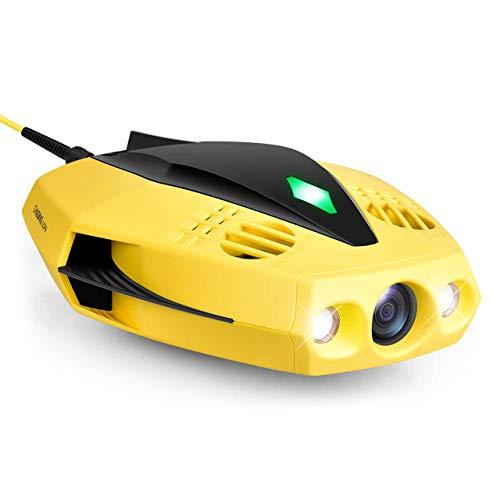 Unterwasser-Drohne Kamera - 1080p Full HD Unterwasser-Drohne mit Kamera für Echtzeit-Ansicht, APP-Fernsteuerung, Einhandbedienung und tragbar mit Tragetasche, Boje und 15m Leine, ROV