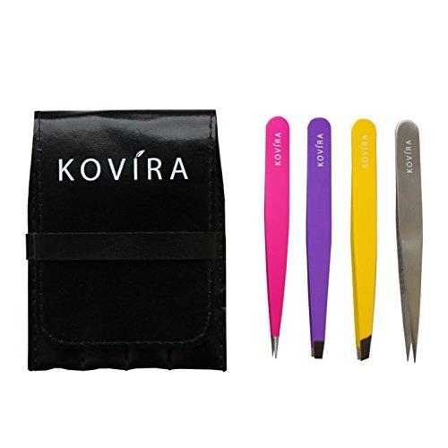 Kovira Set 4 Pinzas Profesionales con Estuche Estilo Cuero - Pinzas Rectas, Biseladas, Puntiagudas y de Precisión para Remover Vello Facial y Cejas y Colocar Extensiones de Pestañas
