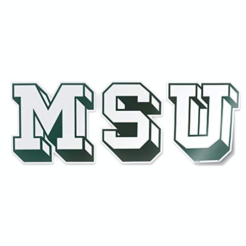 Michigan State University Spartans Vintage MSU Block Letters Car Window Decal Vinyl Bumper Sticker Made in East Lansing, Michigan