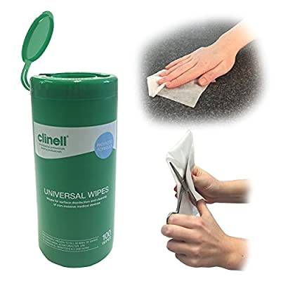 2 x CLINELL UNIVERSAL MULTIPURPOSE SURFACE NHS APPROVED SKIN FRIENDLY MEDICAL CLEANING 100 WIPES DISPENSER TUBS from Steroplast
