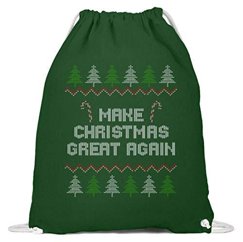 SwayShirt Make Christmas Great Again - Lustiger Ugly Christmas Weihnachtspulli T-shirt Geschenk - Baumwoll Gymsac -37cm-46cm-Dunkelgrün
