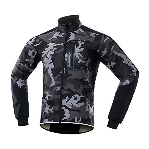 BERGRISAR Men's Winter Softshell Cycling Jacket Windbreaker Water resistant Thermal Fleece Bike Outerwear BG011 Camouflage Gray Size Medium