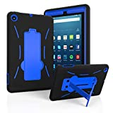 EpicGadget Case for 2019 Amazon Fire 7 Tablet (9th Generation, 2019 Released) - Heavy Duty Hybrid Case Cover with Kickstand + 1 Screen Protector and 1 Stylus (Black/Blue)