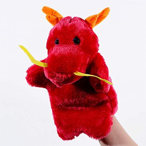 Metermall Hot Grote Handpop Dier Knuffels Baby Doek Educatieve Cognition Hand Speelgoed Vinger Poppen Marionet Rode Draak 25 cm