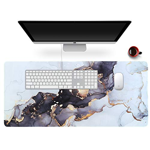 Anyshock Desk Mat, Extended Gaming Mouse Pad 35.4' x 15.7' XXL Keyboard Large Mousepad with Stitched Edges Non Slip Base, Water-Resistant Computer Desk Pad for Office and Home (Gray Ink Marble)