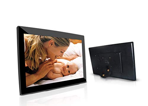 Smart Digital Photo Frame with 1920x1080 IPS Screen Digital Picture Frame Support Adjustable Brightness Photo Frames 1080P Video Music Remote 16:9 Widescreen (10 inch WiFi, Black) Digital Frames Picture
