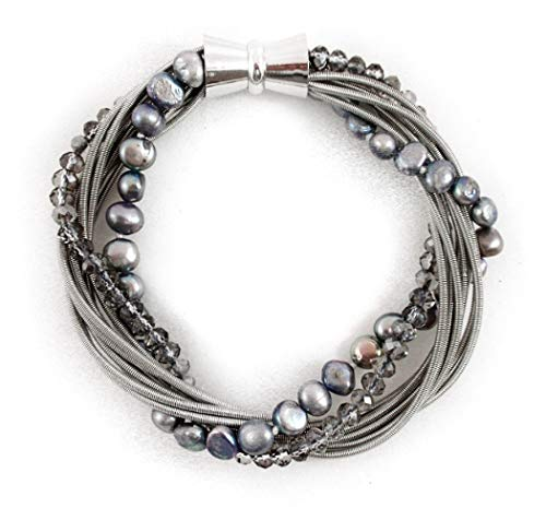 Stainless Steel Piano Wire Bracelet with Silver Freshwater Pearls and Crystal