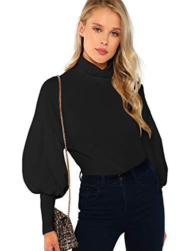 Romwe Women's Casual High Neck Lantern Long Sleeve Blouse Pullover Tops Sweatshirt Black S