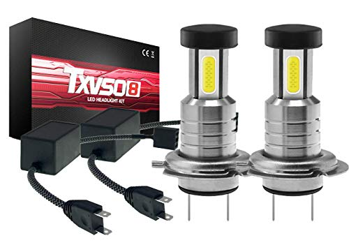 TXVSO 110W 26000LM H7 LED Headlight Car Kit 3 Sides 6000K White Lamps, 55W/Bulb, 2pcs/Set, Replacement for Halogen and Xenon Highlights or Low Beam, With Canbus/Decoder