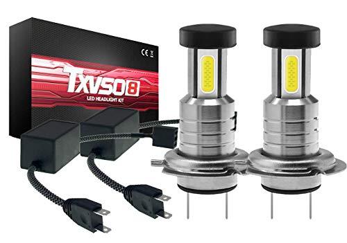 TXVSO 110W 26000LM H7 Kit de faros LED para automóvil 3 lados 6000K Lámparas blancas, 55W/Bombilla, 2pcs/Set, Reemplazo para luces halógenas y de xenón o luces bajas, con canbus/decodificador