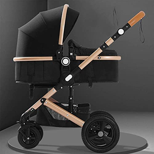 Chilechuan Infant Toddler Baby Stroller Carriage - Foldable Infant Travel Stroller with Adjustable Backrest, Aluminum Alloy Pushchair with Protection Canopy, Storage Basket (Color : Black)