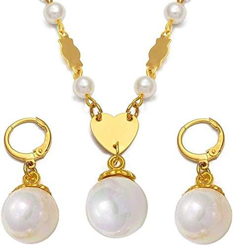 AOAOTOTQ Co.,ltd Halskette Ball Perle Perlen Anhänger Halsketten Ohrringe für Frauen Mädchen Chuuk Mikronesien Schmuck-Sets Hawaiian Guam Halskette Länge 60 cm