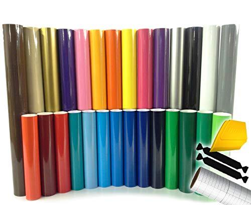 "ORACAL 651 Multi-Color Vinyl Starter Kit 12"" x 5ft Roll Bundle Including Toolkit & Transfer Paper Roll (47 Rolls (1 of Each!))"