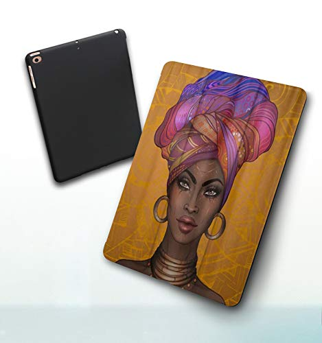 iPad 5./6. Generation shell,iPad 9.7 2018/2017,African American Yellow African Girl, Double-fold Stand with Shockproof TPU Back Cover, Auto Wake/Sleep