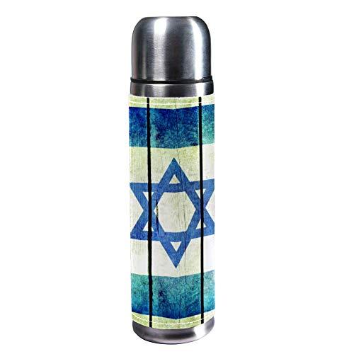 MUMIMI Vakuum-isolierte Edelstahl-Wasserflasche für Sport, Kaffee, Reise, Thermoskanne, echtes Leder, BPA-frei, israelische Flagge