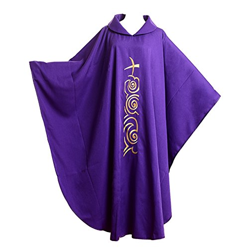 BLESSUME Kirche Priester festes Muster Kasel Vestments Lila (Style#1)