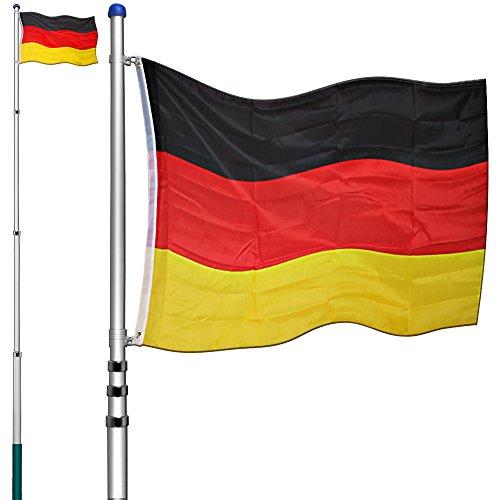 Deuba Aluminium Teleskop Fahnenmast 6,30m Bodenhülse 60cm inkl Deutschlandfahne Flaggenmast Mast Flagge Alu