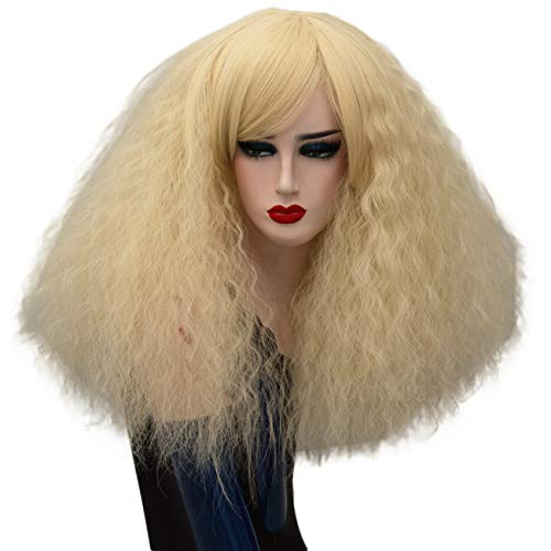 ELIM Gold Fluffy Cosplay Wigs Short Curly Wigs Halloween Costume Wigs Synthetic Hair Oblique Bangs for Women with Wig Cap Z079H