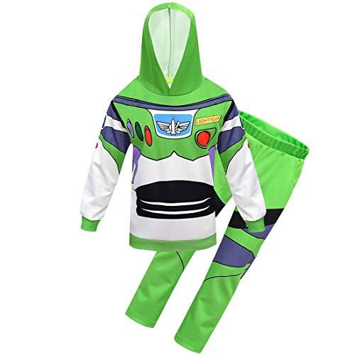 Thombase Jungen Woody and Buzz Lightyear Halloween Cosplay Schlafanzug PJS Lustige Kostüme Gr. 98, Buzz-Hoodie