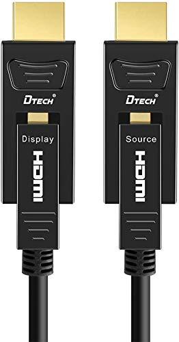 DTECH Cable HDMI de fibra óptica 16 m Ultra HD 4K 60Hz 444 Chroma Subsampling 18Gbit/s Alta velocidad con Dual Micro HDMI y conector HDMI estándar