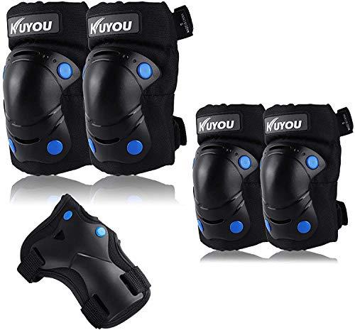 Kinder Knieschoner Set 6 in 1 Kit Schutzausrüstung Knie Ellbogenschützer (Schwarz)