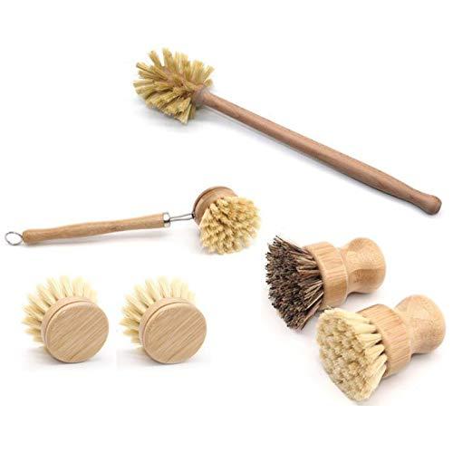 WANWE Cepillos para Fregar Platos Redondos de Bambú, Cepillo para Fregar Botellas para Fregar con Manejar Largo Cepillos de Limpieza de Platos para Olla