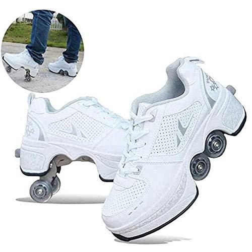 CHXY Verformungs-Rollschuhe Riemenscheiben-Schlittschuhe 2-in-1-Mehrzweck-Automatik-Gehen Senden Freunde Räder 4-Rad-verstellbare Quad-Rollschuhe,White-40