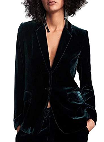 LOSRLY Chaquetas para mujer con solapa de un botón, color verde de manga larga de terciopelo para mujer, estilo casual, blusa de oficina