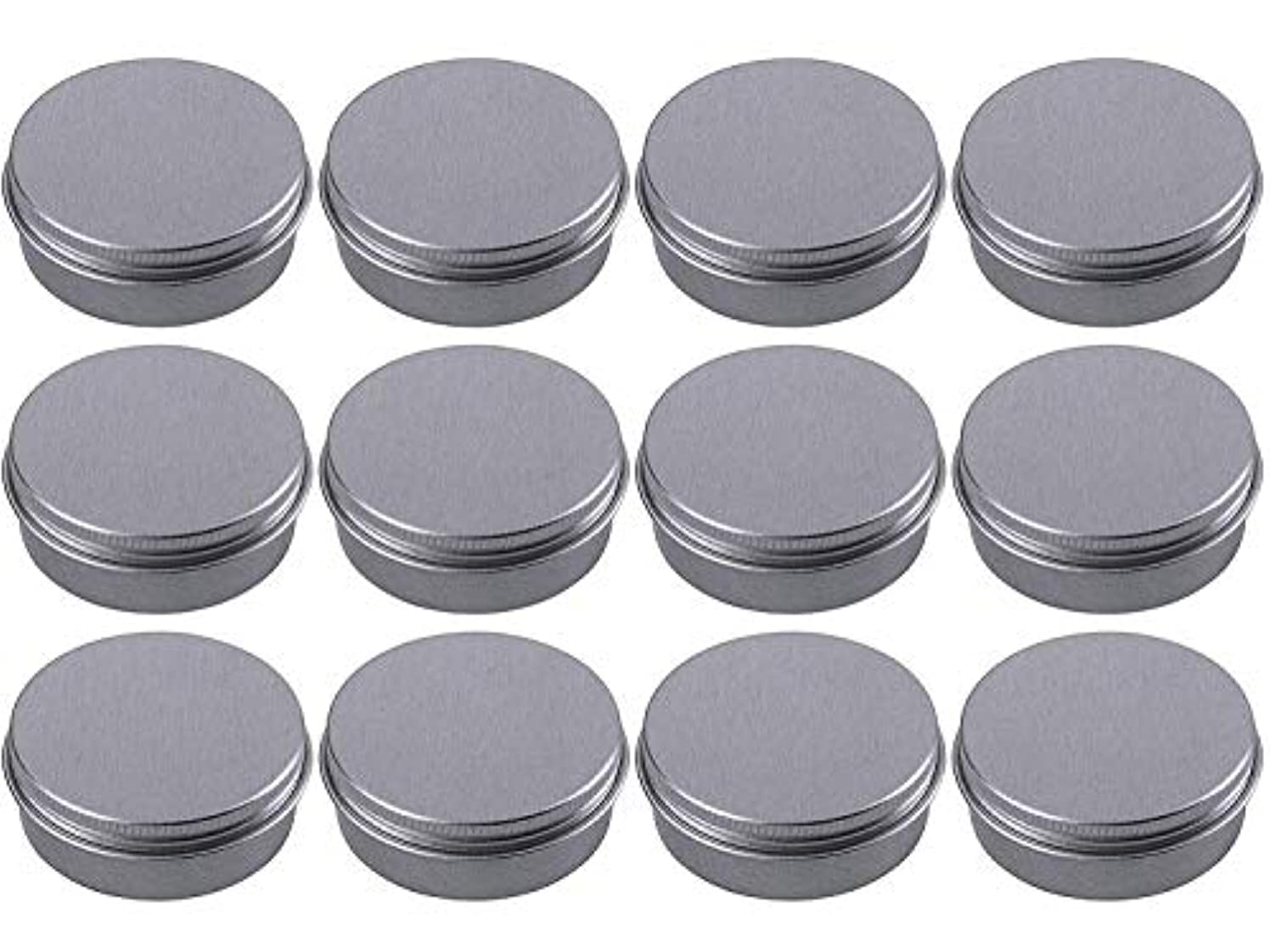 Hulless 2 oz Aluminum Tin Jars 60 ml Refillable Containers Cosmetic Small Tins Aluminum Screw Lid Round Tin Container Bottle for Candle, Lip Balm, Salve, Eye Shadow, Powder, Small Ounce 12 Pack.