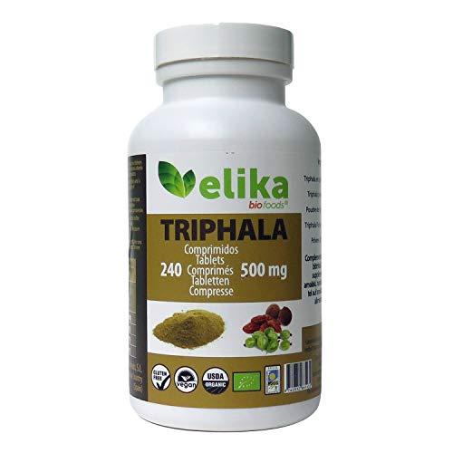 BIO Triphala Elikafoods® ORGÁNICA. 240 comprimidos de 500 mg. Limpia y desintoxica el colon. Contra el estreñimiento. Natural, bio, vegana y sin gluten. Fácil ingesta. Directamente del Himalaya.