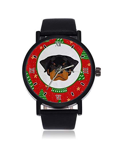 Mops Hund Weihnachtsbaum Mode Damen Armbanduhr Quarz Edelstahl Lederband Casual Uhr
