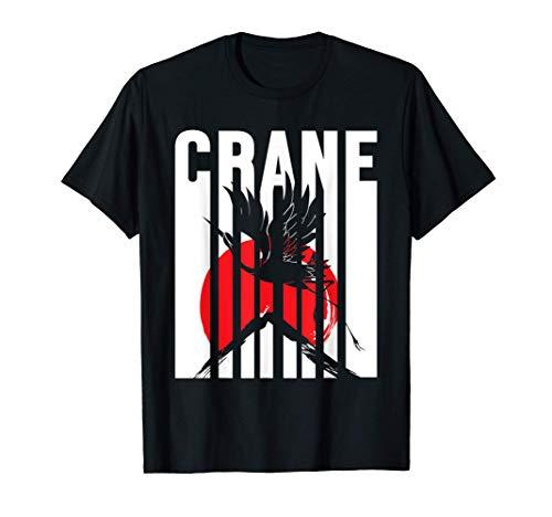 Grus Grus Japón Sol Rojo Pájaro Naturaleza Origami Animal Camiseta